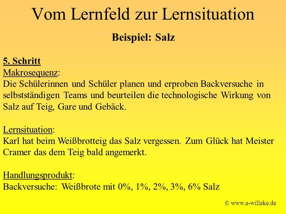Vom Lernfeld zur Lernsituation © www.a-willeke.de Beispiel: Salz 5. Schritt Makrosequenz: Die Schülerinnen und Schüler planen und erproben Backversuch