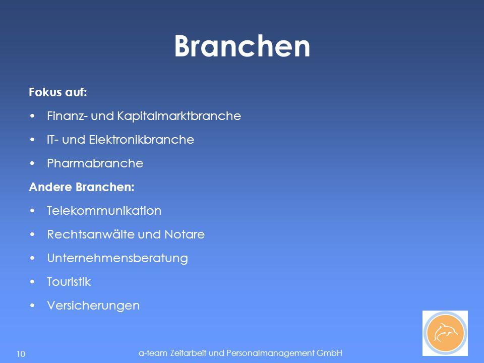 a-team Zeitarbeit und Personalmanagement GmbH 10 Branchen Fokus auf: Finanz- und Kapitalmarktbranche IT- und Elektronikbranche Pharmabranche Andere Branchen: Telekommunikation Rechtsanwälte und Notare Unternehmensberatung Touristik Versicherungen