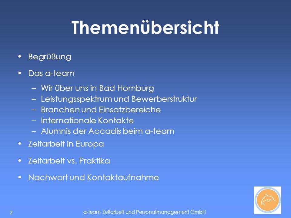 a-team Zeitarbeit und Personalmanagement GmbH 13 Alumnis Sehr gute Möglichkeiten für Hochschulabsolventen mit praxisnaher und internationaler Auslegung Alumnis der Accadis arbeiten heute u.a.