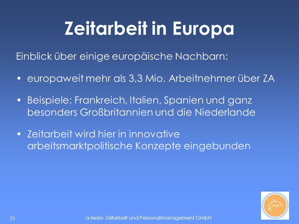 a-team Zeitarbeit und Personalmanagement GmbH 21 Zeitarbeit in Europa Einblick über einige europäische Nachbarn: europaweit mehr als 3,3 Mio.