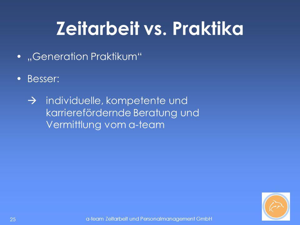 a-team Zeitarbeit und Personalmanagement GmbH 25 Zeitarbeit vs.