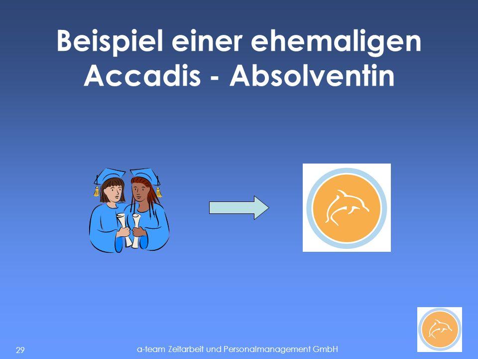 a-team Zeitarbeit und Personalmanagement GmbH 29 Beispiel einer ehemaligen Accadis - Absolventin