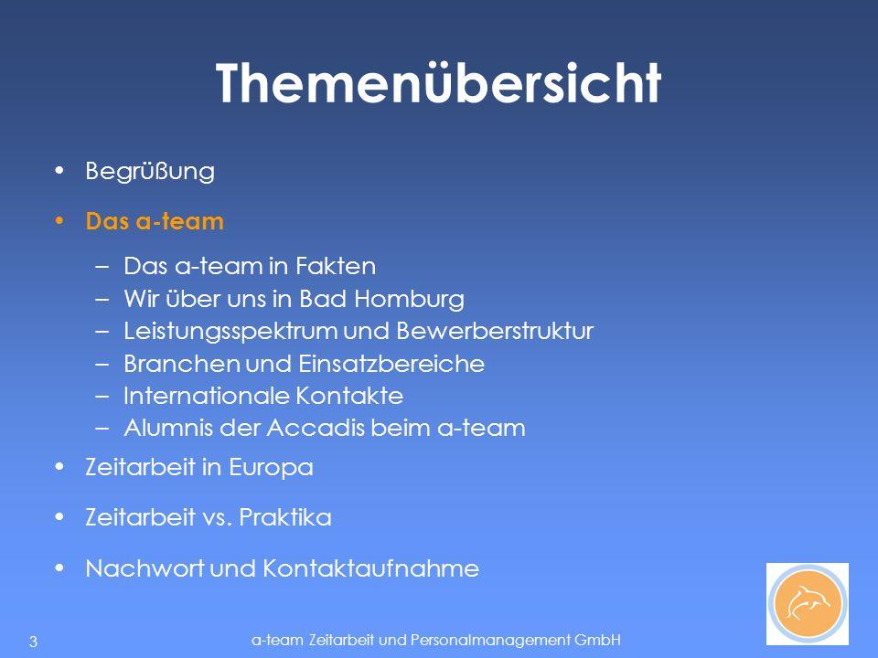 a-team Zeitarbeit und Personalmanagement GmbH 14 Themenübersicht Begrüßung Das a-team –Wir über uns in Bad Homburg –Leistungsspektrum und Bewerberstruktur –Branchen und Einsatzbereiche –Internationale Kontakte –Alumnis der Accadis beim a-team Zeitarbeit in Europa Zeitarbeit vs.