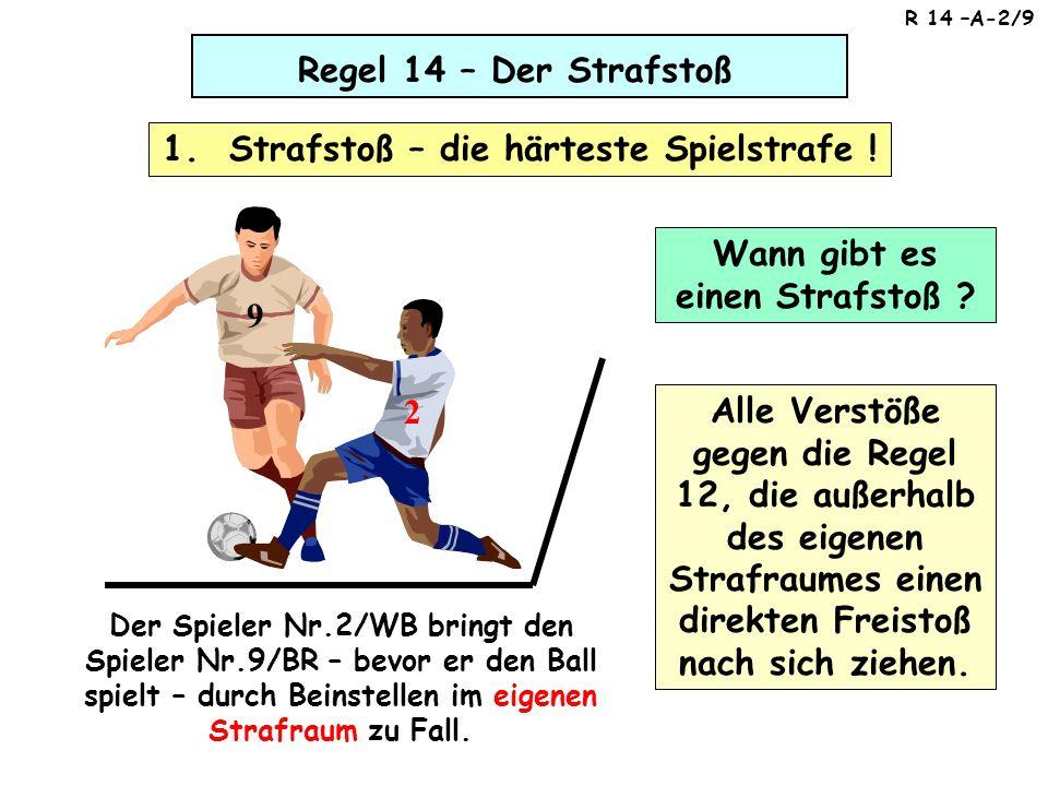 Regel 14 – Der Strafstoß (1) Der Ball wird auf die Strafstoßmarke gelegt (2) Der ausführende Spieler muss klar identifizierbar für den Torwart / SR sein 1.