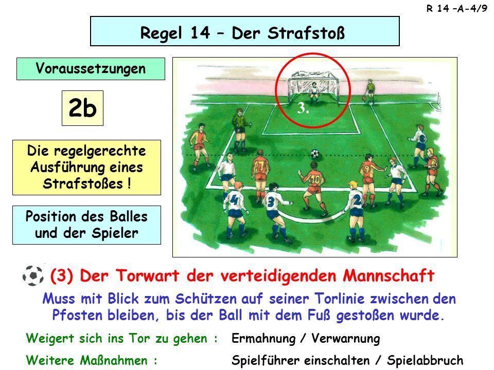 Regel 14 – Der Strafstoß (3) Der Torwart der verteidigenden Mannschaft Muss mit Blick zum Schützen auf seiner Torlinie zwischen den Pfosten bleiben, b
