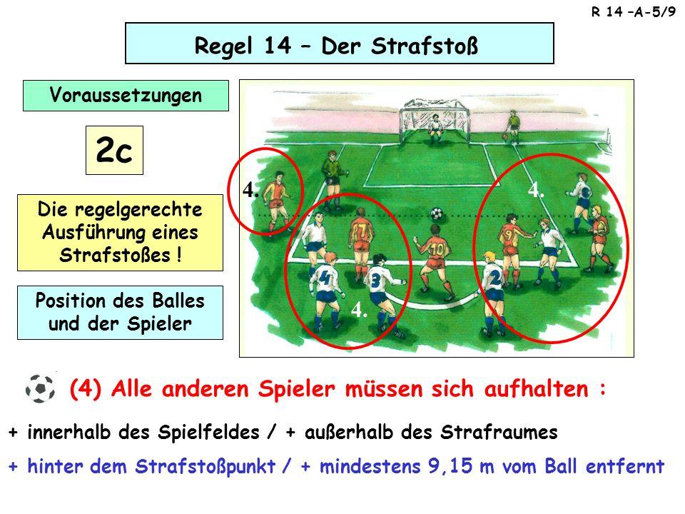 Regel 14 – Der Strafstoß (5) Der Schiedsrichter darf das Signal zur Ausführung des Stoßes erst geben, wenn alle Spieler ihre Position in Übereinstimmung mit den Regeln eingenommen haben.
