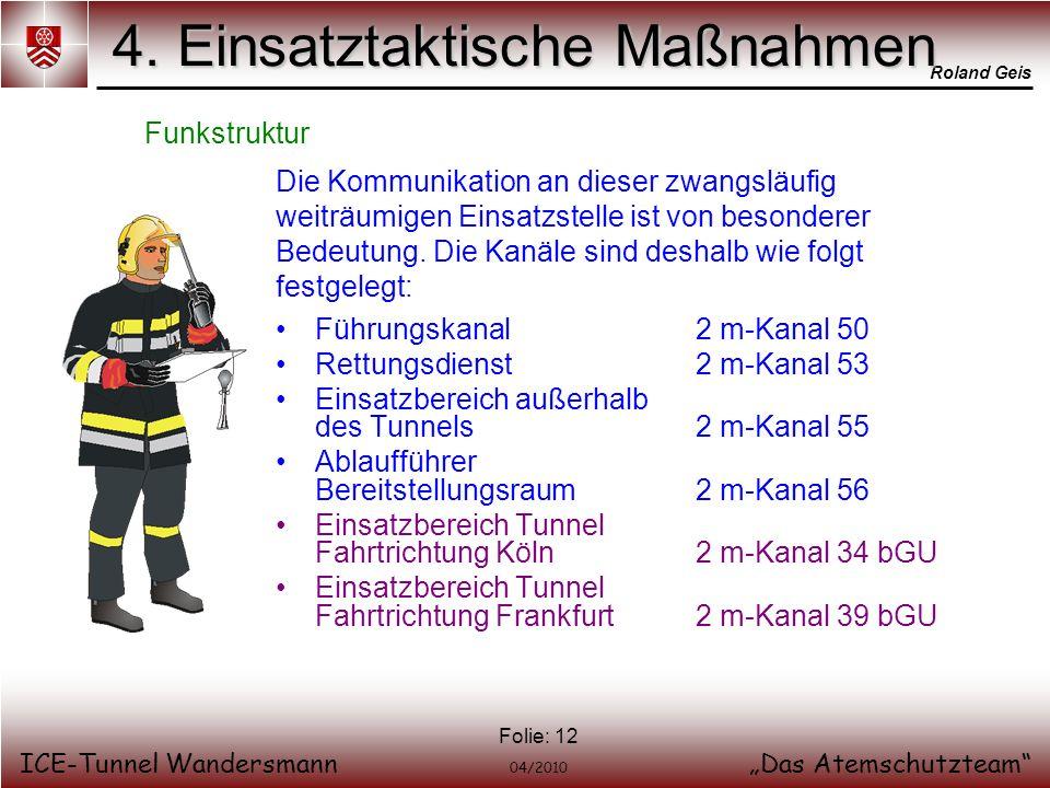 Roland Geis ICE-Tunnel WandersmannDas Atemschutzteam 04/2010 Folie: 12 4. Einsatztaktische Maßnahmen Funkstruktur Die Kommunikation an dieser zwangslä