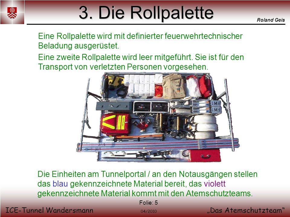 Roland Geis ICE-Tunnel WandersmannDas Atemschutzteam 04/2010 Folie: 5 3. Die Rollpalette Eine Rollpalette wird mit definierter feuerwehrtechnischer Be