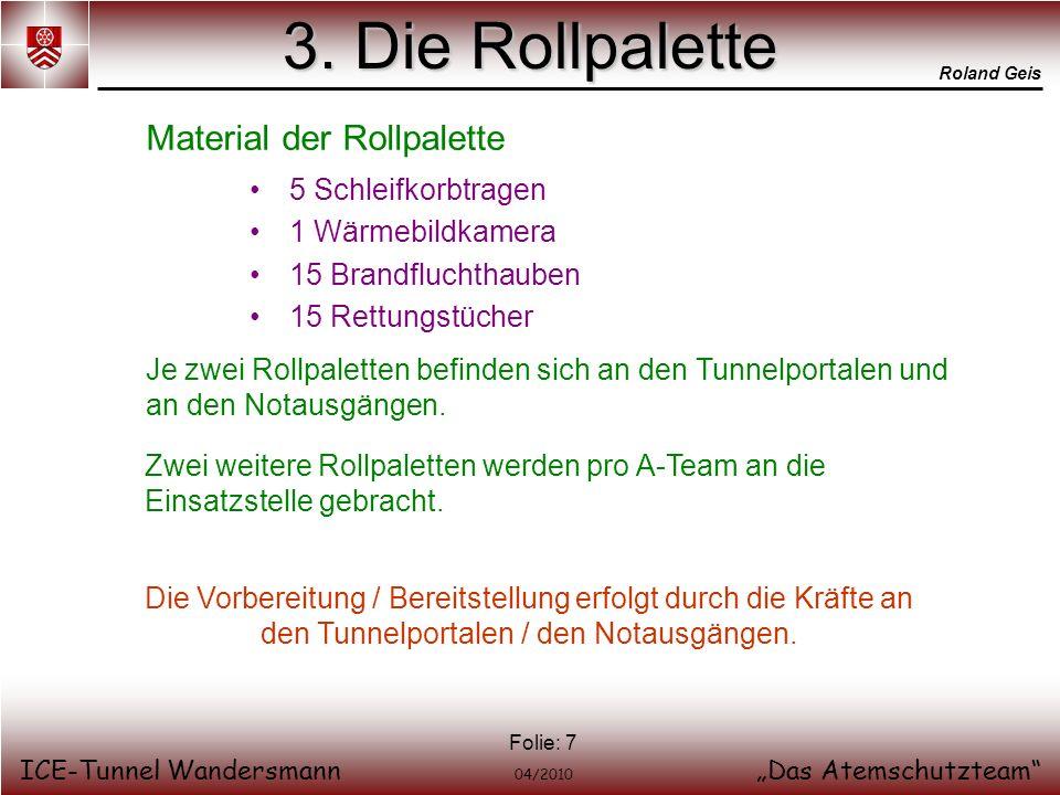 Roland Geis ICE-Tunnel WandersmannDas Atemschutzteam 04/2010 Folie: 7 3. Die Rollpalette 5 Schleifkorbtragen 1 Wärmebildkamera 15 Brandfluchthauben 15
