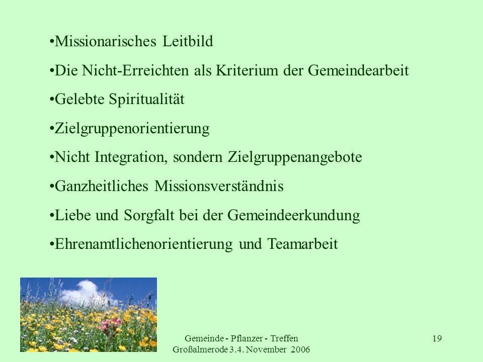 Gemeinde - Pflanzer - Treffen Großalmerode 3.4. November 2006 19 Missionarisches Leitbild Die Nicht-Erreichten als Kriterium der Gemeindearbeit Gelebt