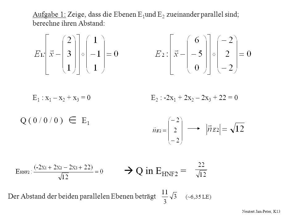 Aufgabe 1: Zeige, dass die Ebenen E 1 und E 2 zueinander parallel sind; berechne ihren Abstand: E 1 : x 1 – x 2 + x 3 = 0E 2 : -2x 1 + 2x 2 – 2x 3 + 2