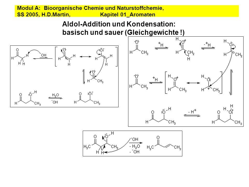 Aldol-Addition und Kondensation: basisch und sauer (Gleichgewichte !) Modul A: Bioorganische Chemie und Naturstoffchemie, SS 2005, H.D.Martin, Kapitel