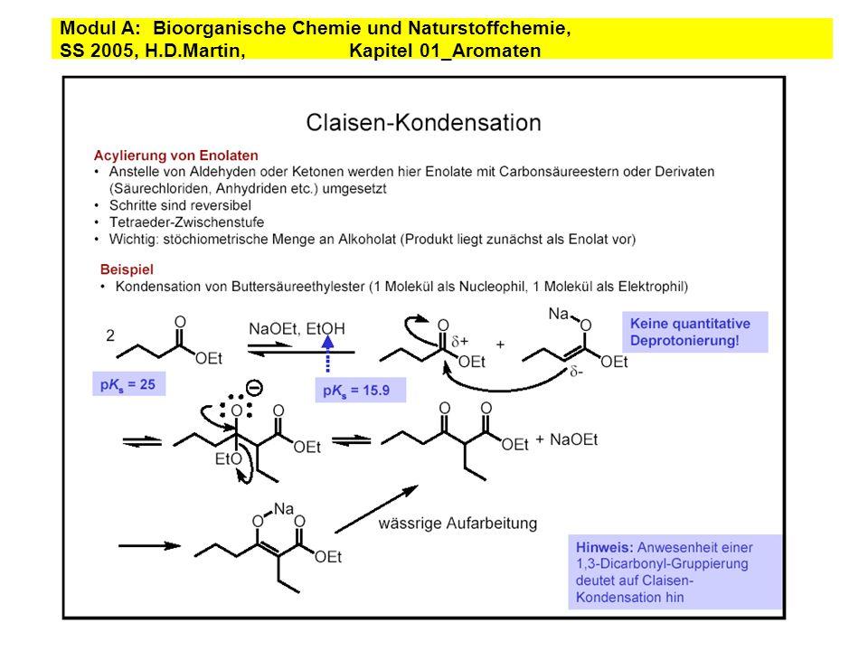 CLAISEN REARRANGEMENT an allyl ether heat an allyl phenol enolization H+ A THERMAL REARRANGEMENT Modul A: Bioorganische Chemie und Naturstoffchemie, SS 2005, H.D.Martin, Kapitel 01_Aromaten