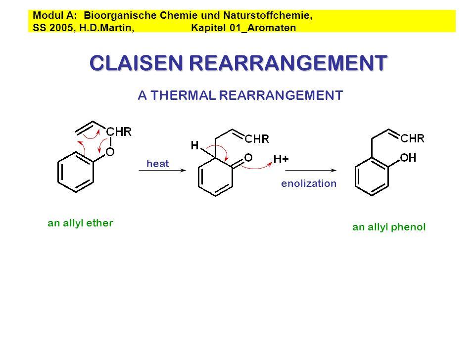 CLAISEN REARRANGEMENT an allyl ether heat an allyl phenol enolization H+ A THERMAL REARRANGEMENT Modul A: Bioorganische Chemie und Naturstoffchemie, S