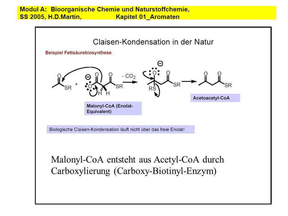 PREPHENIC ACID TO PHENYLALANINE prephenic acid :B-Enz H+ transamination phenylpyruvic acid phenylalanine - CO 2 - H 2 O Modul A: Bioorganische Chemie und Naturstoffchemie, SS 2005, H.D.Martin, Kapitel 01_Aromaten
