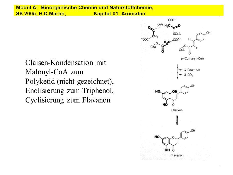 Claisen-Kondensation mit Malonyl-CoA zum Polyketid (nicht gezeichnet), Enolisierung zum Triphenol, Cyclisierung zum Flavanon Modul A: Bioorganische Ch