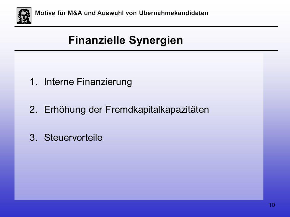 10 Motive für M&A und Auswahl von Übernahmekandidaten Finanzielle Synergien 1.Interne Finanzierung 2.Erhöhung der Fremdkapitalkapazitäten 3.Steuervorteile