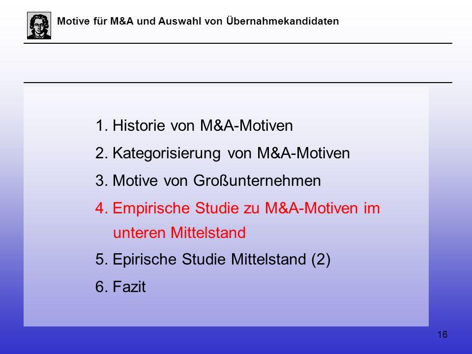 16 Motive für M&A und Auswahl von Übernahmekandidaten 1.