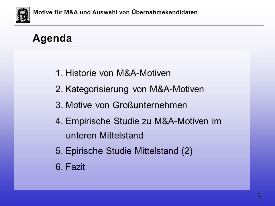 2 Motive für M&A und Auswahl von Übernahmekandidaten Agenda 1.