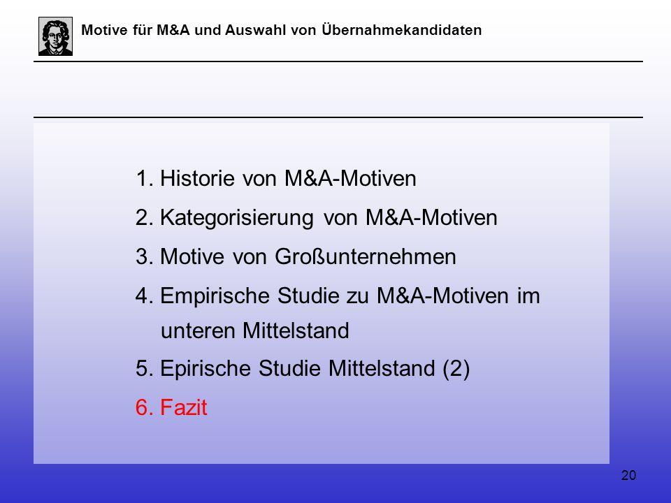 20 Motive für M&A und Auswahl von Übernahmekandidaten 1.