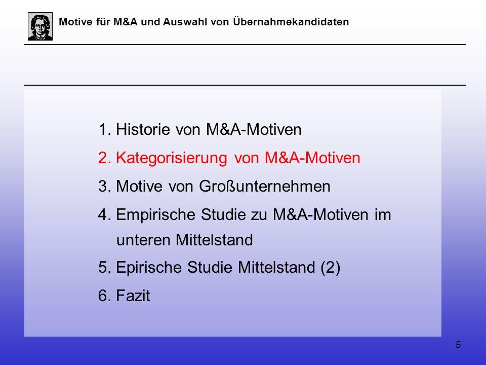 5 Motive für M&A und Auswahl von Übernahmekandidaten 1.
