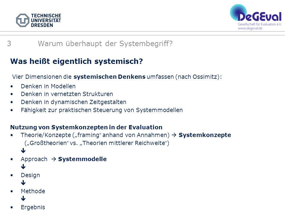 Was heißt eigentlich systemisch? Vier Dimensionen die systemischen Denkens umfassen (nach Ossimitz): Denken in Modellen Denken in vernetzten Strukture