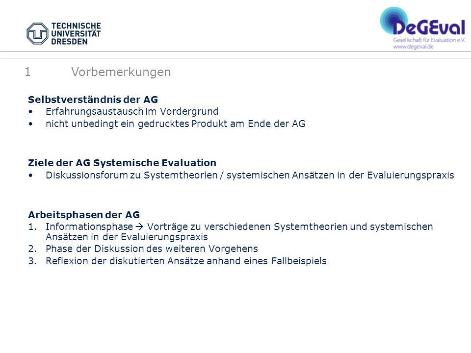 Selbstverständnis der AG Erfahrungsaustausch im Vordergrund nicht unbedingt ein gedrucktes Produkt am Ende der AG Ziele der AG Systemische Evaluation
