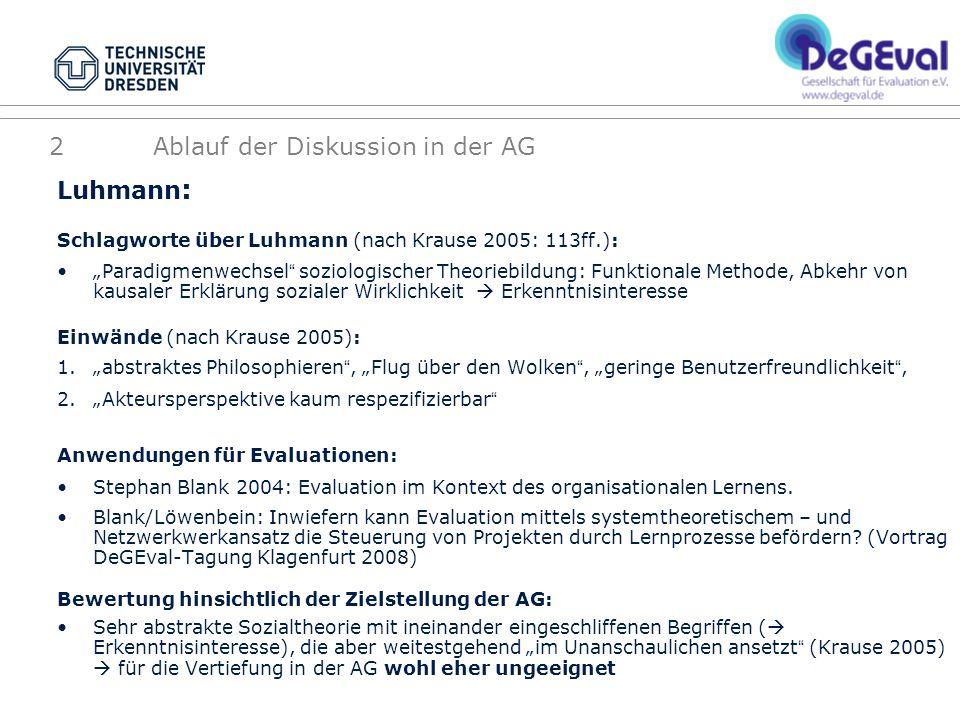Luhmann : Schlagworte über Luhmann (nach Krause 2005: 113ff.): Paradigmenwechsel soziologischer Theoriebildung: Funktionale Methode, Abkehr von kausal