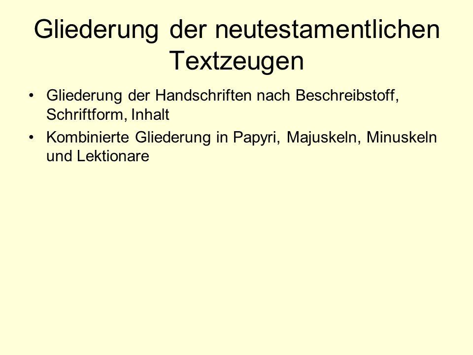 Gliederung der neutestamentlichen Textzeugen Gliederung der Handschriften nach Beschreibstoff, Schriftform, Inhalt Kombinierte Gliederung in Papyri, M