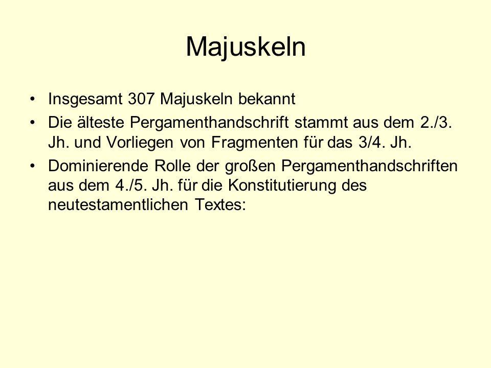 Majuskeln Insgesamt 307 Majuskeln bekannt Die älteste Pergamenthandschrift stammt aus dem 2./3. Jh. und Vorliegen von Fragmenten für das 3/4. Jh. Domi