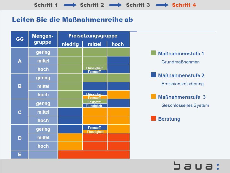 Leiten Sie die Maßnahmenreihe ab Schritt 1Schritt 2Schritt 3Schritt 4 Maßnahmenstufe 3 Geschlossenes System Maßnahmenstufe 1 Grundmaßnahmen Maßnahmens