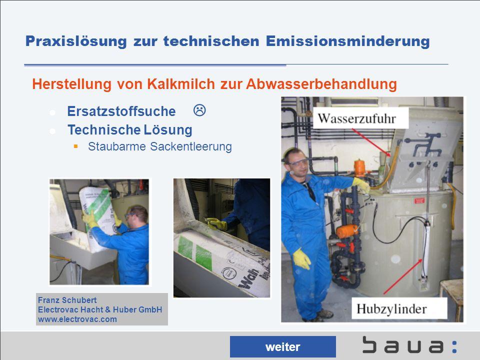 Praxislösung zur technischen Emissionsminderung Ersatzstoffsuche Technische Lösung Staubarme Sackentleerung Herstellung von Kalkmilch zur Abwasserbeha
