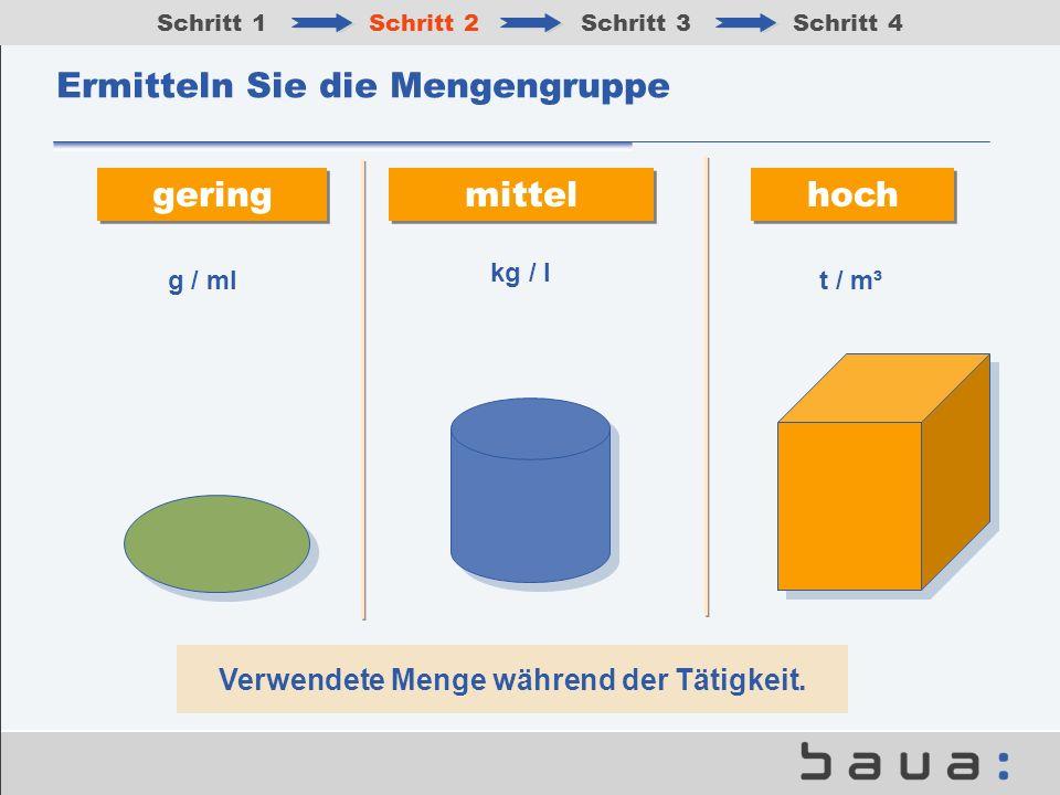 Ermitteln Sie die Mengengruppe gering mittel hoch Verwendete Menge während der Tätigkeit. g / mlt / m³ kg / l Schritt 1Schritt 2Schritt 3Schritt 4
