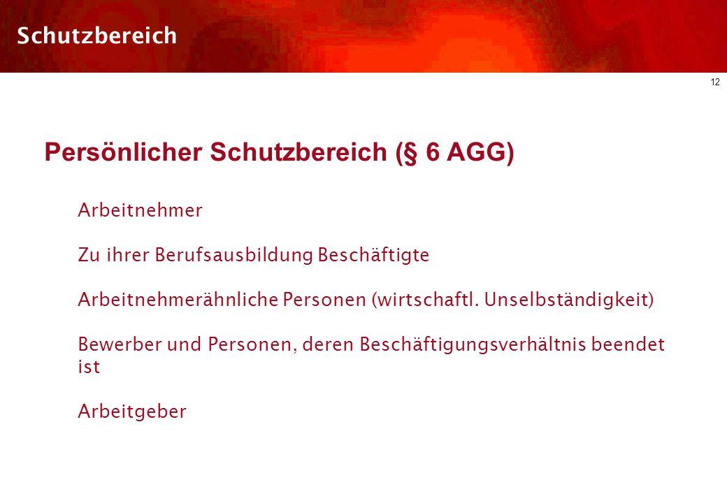 11 Schutzbereich Ausnahmen: Sachlicher Schutzbereich (§ 2 AGG) Leistungen aus dem Sozialgesetzbuch, § 2 Abs.2 S. 1 Betriebliche Altersversorgung, § 2
