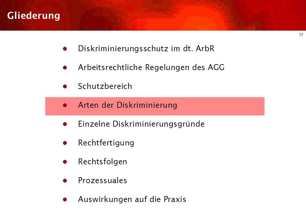 12 Schutzbereich Persönlicher Schutzbereich (§ 6 AGG) Arbeitnehmer Zu ihrer Berufsausbildung Beschäftigte Arbeitnehmerähnliche Personen (wirtschaftl.
