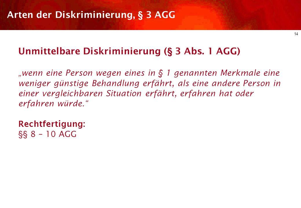 13 Diskriminierungsschutz im dt. ArbR Arbeitsrechtliche Regelungen des AGG Schutzbereich Arten der Diskriminierung Einzelne Diskriminierungsgründe Rec
