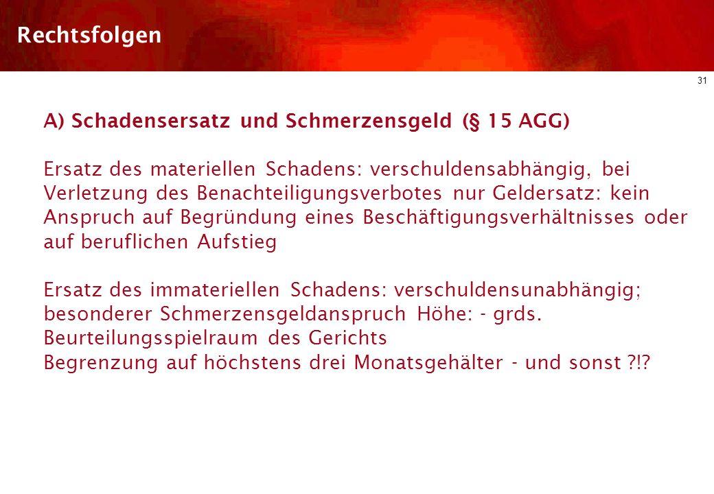 30 Diskriminierungsschutz im dt. ArbR Arbeitsrechtliche Regelungen des AGG Schutzbereich Arten der Diskriminierung Einzelne Diskriminierungsgründe Rec
