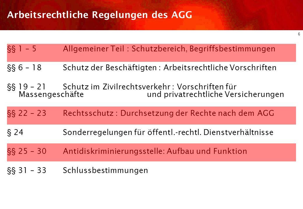 5 Diskriminierungsschutz im dt. ArbR Arbeitsrechtliche Regelungen des AGG Schutzbereich Arten der Diskriminierung Einzelne Diskriminierungsgründe Rech