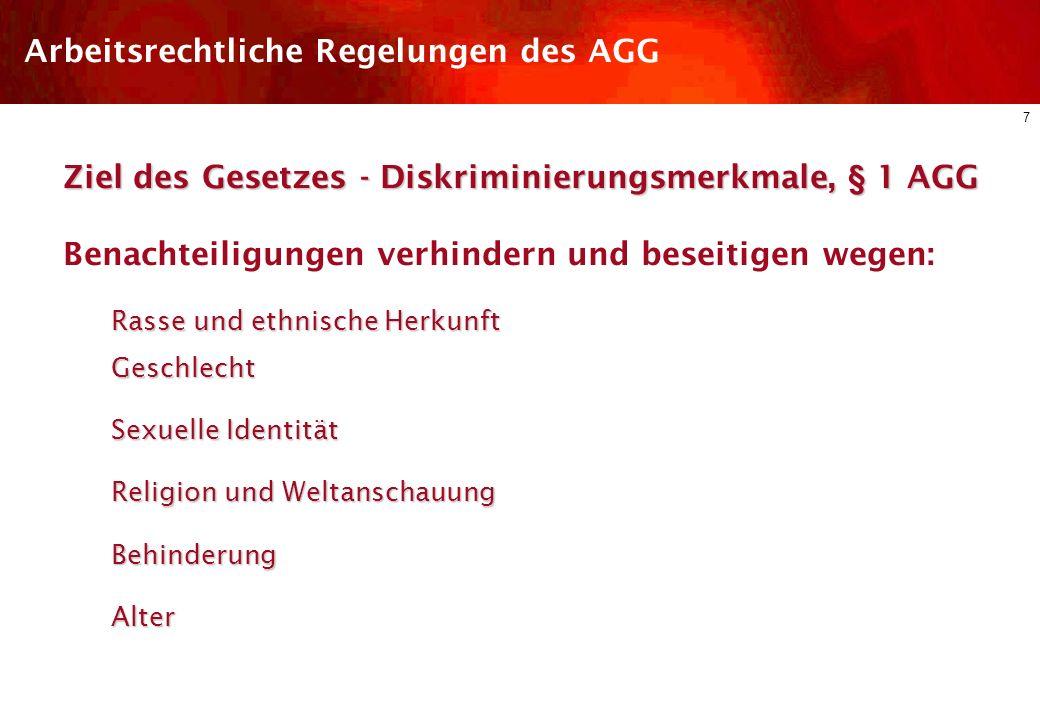 6 Arbeitsrechtliche Regelungen des AGG §§ 1 – 5Allgemeiner Teil : Schutzbereich, Begriffsbestimmungen §§ 6 – 18Schutz der Beschäftigten : Arbeitsrecht