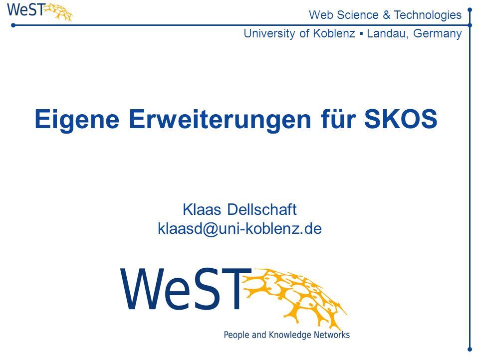 Eigene Erweiterungen für SKOS 2 of 28 WeST Überblick Wissensbasen im Semantic Web RDF/OWL-Ontologien T-Box A-Box Modellierung von Thesauri mit SKOS Thesaurus-Schema Thesaurus-Daten Erweiterungen für SKOS SKOS-XL Koordinierte Konzepte Ableitung von Entwurfsmustern