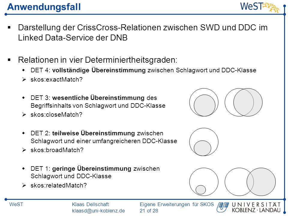 Klaas Dellschaft klaasd@uni-koblenz.de Eigene Erweiterungen für SKOS 21 of 28 WeST Anwendungsfall Darstellung der CrissCross-Relationen zwischen SWD u