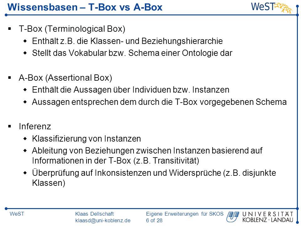 Klaas Dellschaft klaasd@uni-koblenz.de Eigene Erweiterungen für SKOS 17 of 28 WeST SKOS-XL: Modellierung des Schemas skosxl:Labelskosxl:prefLabel rdfs:range skosxl:literalForm skosxl:Label RDF Plain Literal rdfs:domain rdfs:range skosxl:labelRelation skosxl:Label rdfs:domain rdfs:range
