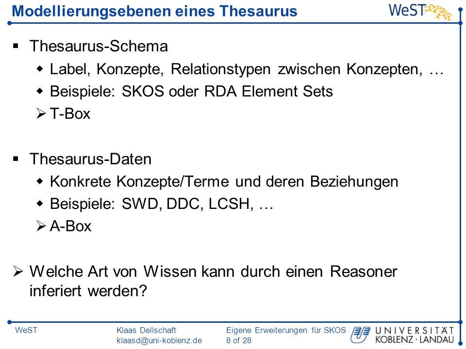 Klaas Dellschaft klaasd@uni-koblenz.de Eigene Erweiterungen für SKOS 19 of 28 WeST SKOS-XL: Kompatibilität zu SKOS Problem: Woher weiß eine SKOS-Anwendung, dass z.B.