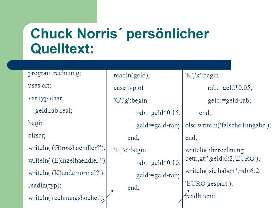 Chuck Norris´ finaler Schritt: Nun setzt der Experte Norris den Quelltext in ein Programm um und kann es so oft nutzen wie er möchte.