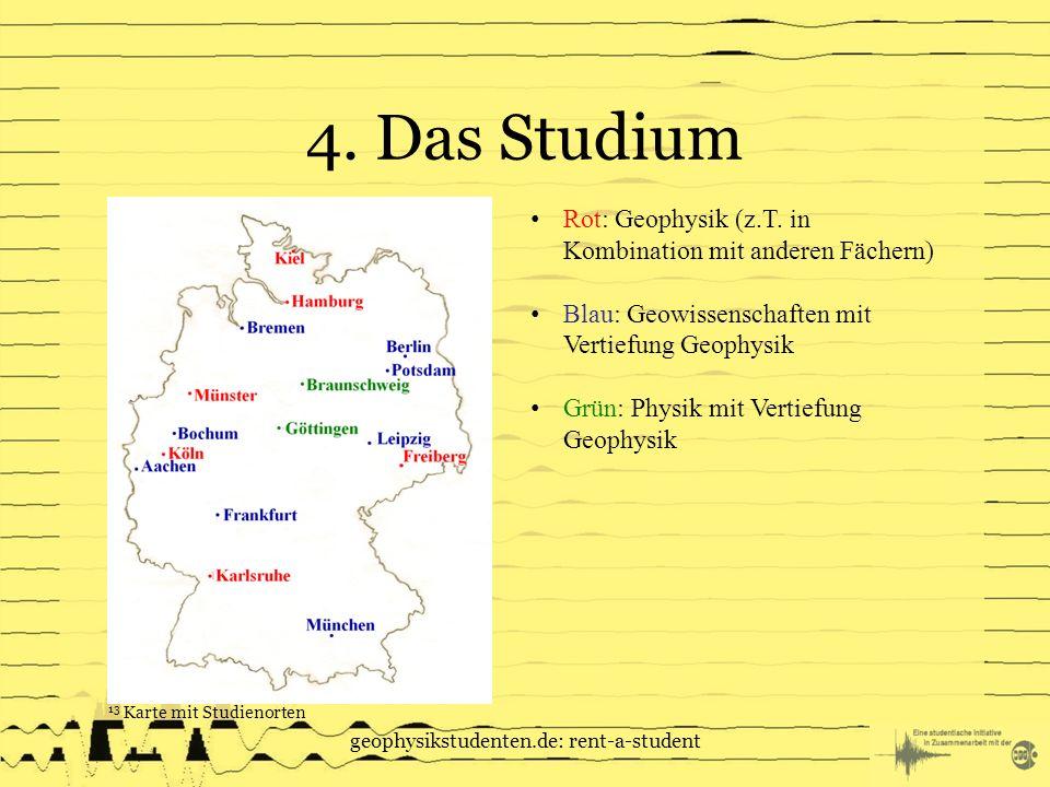 4.Das Studium geophysikstudenten.de: rent-a-student Rot: Geophysik (z.T.