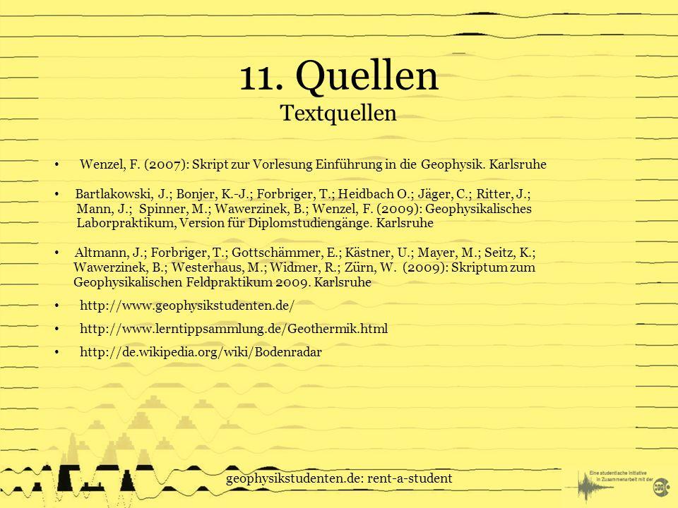 geophysikstudenten.de: rent-a-student 11.Quellen Textquellen Wenzel, F.