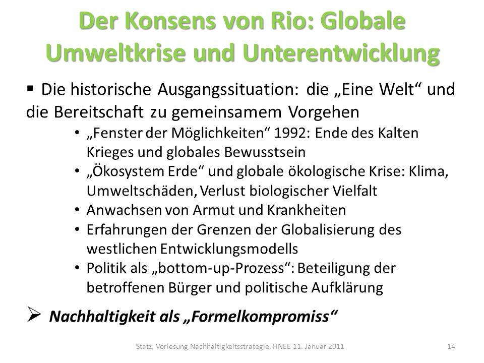 Der Konsens von Rio: Globale Umweltkrise und Unterentwicklung Die historische Ausgangssituation: die Eine Welt und die Bereitschaft zu gemeinsamem Vor