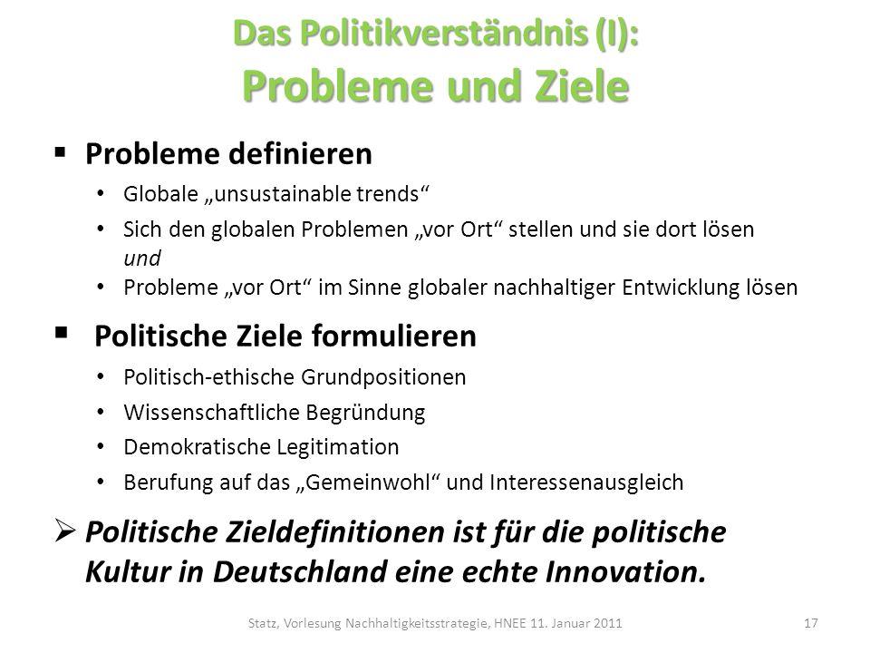 Das Politikverständnis (I): Probleme und Ziele Probleme definieren Globale unsustainable trends Sich den globalen Problemen vor Ort stellen und sie do