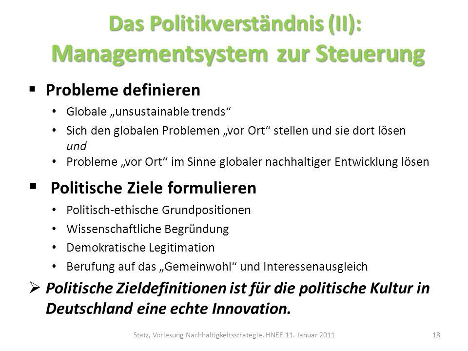 Das Politikverständnis (II): Managementsystem zur Steuerung Probleme definieren Globale unsustainable trends Sich den globalen Problemen vor Ort stell