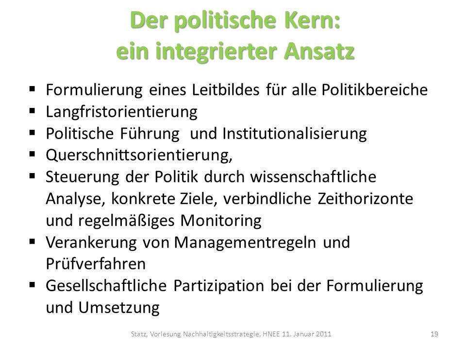 Der politische Kern: ein integrierter Ansatz Formulierung eines Leitbildes für alle Politikbereiche Langfristorientierung Politische Führung und Insti